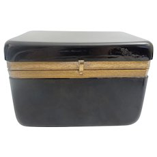 """BIG BEAUTIFUL Antique French Black Glass Casket Hinged Box ~  Stunning ¾"""" Ornate Gilding Mounts and S Lift Clasp ~  Round Majestic Corners"""