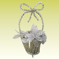 Rare Czech Crystal Basket Wall Lamp ~ A Wonderful Crystal Wall Lamp Basket with a Beaded Handle & Topped With a Big Crystal Bow ~ A Rare Crystal Czech Wall Lamp from My Treasure Vault.