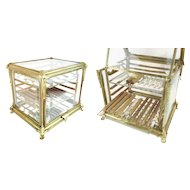 Grandest 19C French Bronze and Glass Cigar Tantalus ~  Lift Out Bronze Stand that Holds Glass Trays ~ Two Molded Glass Trays ~ A Rare Cigar Tantalus from My Treasure Vault
