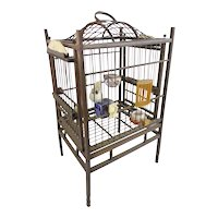 Antique Chinese Ornate Bird Cage ~  The Cage  is Filled with Four Ornate Porcelain Feeders/ Waters,  Monkey, Carved  Figures  Plus a Wonderful Carved Dragon Plaque Over the Door Plus a Little Cricket Basket