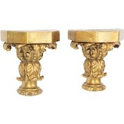 Exquisite Antique Gilt Wood Wall Display Brackets ~ Great Size and Ready to Display Your Special Treasures