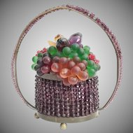 1920 Czech Purple Glass Fruit Basket ~ Very RARE Purple Crystal Beaded Handle That Circles the Entire Basket ~ STAMPED
