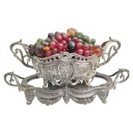 1920 Czechoslovakia Glass Fruit Double Handle Jardiniere Resting in a Mirrored Plateau ~A Glass Fruit White Metal Jardiniere and Plateau are hard to find Still Together after 98 Years ~ Good Wiring ... Ready to Plug in and Love