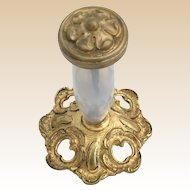 Beautiful Antique French Bulle de Savon Opaline and Bronze Finial ~ The Opaline is Luminous and Glowing with Color
