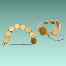 "Glorious  8"" Antique American $5 Gold Coin Bracelet ~  EIGHT  $5 Liberty Head Gold Coins ~ 1880,  1881, 1895, 1896 (3), 1897, 1900"