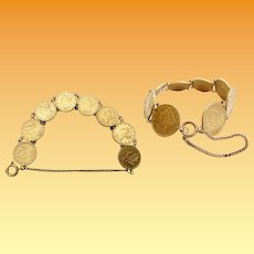 """Glorious  8"""" Antique American $5 Gold Coin Bracelet ~  EIGHT  $5 Liberty Head Gold Coins ~ 1880,  1881, 1895, 1896 (3), 1897, 1900"""