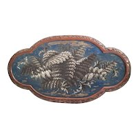 """22 ½"""" Antique English Beaded Tray ~ AS IS!  ~ Exquisite Ornate Wood Frame and Resting on Four Bun Feet"""