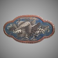 "22 ½"" Antique English Beaded Tray ~ AS IS!  ~ Exquisite Ornate Wood Frame and Resting on Four Bun Feet"