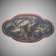 Beautiful Large Antique English Beaded Tray ~ AS IS!  ~ Exquisite Ornate Wood Frame and Resting on Four Bun Feet