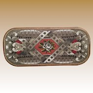 "21"" Large Antique English Beaded Tray…AS IS! ~  Exquisite Ornate Wood Frame and Resting on Four Bun Feet"