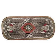 """21"""" Large Antique English Beaded Tray…AS IS! ~  Exquisite Ornate Wood Frame and Resting on Four Bun Feet"""