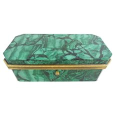 Antique  Malachite Casket Hinged Box  ~ Fabulous Gilt Bronze Mounts and Footed Base ~ Original Interior ~  Exquisite Russian or French Malachite