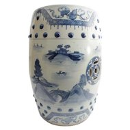 """Beautiful Antique Blue and White Chinese Porcelain Garden Seat """"BARREL FORM"""""""