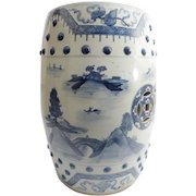 "Beautiful Antique Blue and White Chinese Porcelain Garden Seat ""BARREL FORM"""
