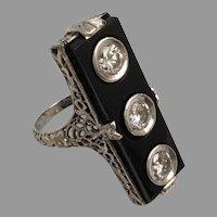 14KARAT Diamond  and Black Onyx Ring ~ BEAUTIFUL