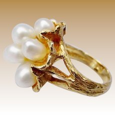 Vintage  Pearl and 14 Karat Yellow Gold Ring   ~ 10 Fresh Water Cultured Pearls Nestled in a Bark Finish Flower ~ STUNNING