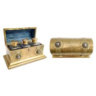 """Antique English Bronze and Petra Dura Scent Casket. ~ Beautiful Bronze Dome Top with Six ½"""" Petra Dura Plaques ~  Exquisite Gift to """"MAY from HARRY"""" Engraved on the Dome Top ~"""