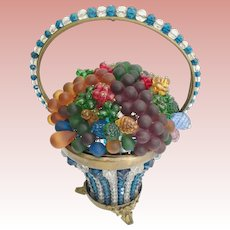 Pretty Czech Glass Fruit Basket. Blue and Crystal Basket with a Handle ~  Stunning Ornate Footed Base ~ Stamped Base