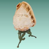 """Antique Carved Shell Lamp """"Napolia"""" Beautiful Carved Shell with Three Painted Figural Metal Feet"""