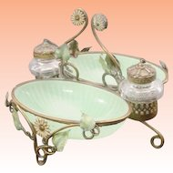 Antique French Green Opaline Double Inkwell  ~  Darling Tole Painted Flowers and Leaves ~ Two Large Green Opaline Trinket Dishes and Twin Crystal Inkwell