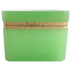 GRANDEST Antique French Green Opaline Hinged Box ~ RARE Green Opaline. A BEAUTY from My Treasure Vault.