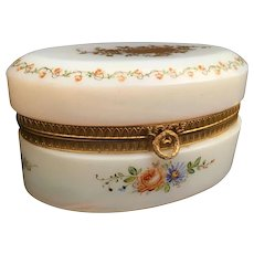 Charming Antique  French Bulle de Savon Opaline Oval Casket Hinged Box ~ Beautiful Hand Enameled Flower Garland and Exquisite Gold Flowers