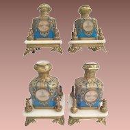 "Magnificent Palais Royal Blue Opaline 10 ""Eglomise"" Perfume Bottles   ""PAIR"" ~ Exquisite Ornate Holders"