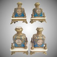 "Magnificent Palais Royal Blue Opaline 10 ""Eglomise"" Perfume Bottles   ""PAIR"" ~ Exquisite Ornate Holders"