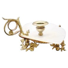 Beautiful Antique 7 ½ French Mother of Pearl Candle Holder ~ A Giant Mother of Pearl Shell with FABULOUS Gilt Ormolu