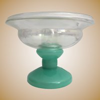 Stunning  CZECH Green Glass Lamp with a Fitted Clear Iridescent Glass Bowl ~ Good Safe Wiring