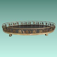 """Stunning 23 ½"""" Vintage Estate Brass Oval Table Tray Plateau ~  Grape Vine Decorated Tray Plateau ~ BIG and BEAUTIFUL"""