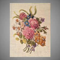 """Vintage Estate Petti Point Flower Panel  ~ 11"""" x 8"""" Ready to Frame """"Bouquet of Flowers"""""""