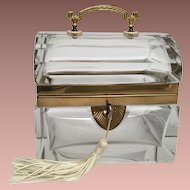 Antique French Baccarat Crystal Casket w Beautiful Bronze Handle ~Thick Crystal and Stunning Dome Top~ SO ooooo WONDERFUL!