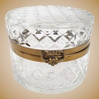 Big  Estate Vintage Round Crystal Casket Hinged Box ~ Wide Smooth Metal Mounts and Fancy Clasp