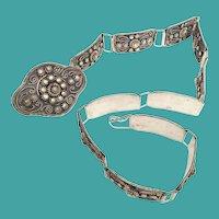 """Vintage Estate White Metal Silver 28"""" Belt"""
