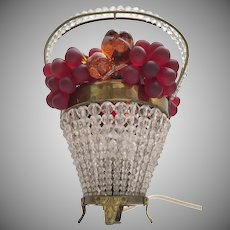 Stunning 1920 Czechoslovakia Glass Fruit Lamp ~ Crystal Beaded Basket with a Handle Loaded with Glass Fruit ~ STAMPED ~  Good Wiring and Ready to Plug in and Love.