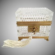 Antique Baccarat Cut Crystal Paw Footed Casket Hinged Box  ~  Original Key. ~ VF Fancy Paw Footed Base