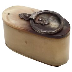 Wonderful Little Horn Snuff Box with a Metal Ringed Horn Top
