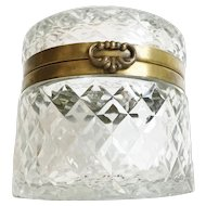 BIG and BEAUTIFUL Vintage Estate  Round Crystal Casket Hinged Box  ~ Wide Smooth Brass Mounts and Fancy Clasp
