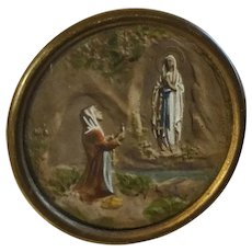 Religious Antique Plaque Medallion  Button  SIGNED: E. Dropsy