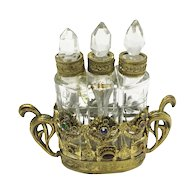 Austrian  Czech Jeweled Perfume Bottle Set ~  AS IS!  ~   Beautiful and Excellent Display Perfume Set