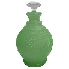 Antique French Cut Green Opaline Perfume ~ Beautiful Cut Crystal Stopper ~ BIG and Beautiful