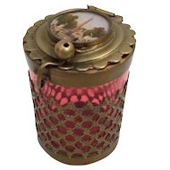 Grand Tour Red Eglomise Jar  ~ Lovely Gilt Ormolu Lace