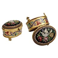 """Antique Italian Grand Tour Micro Mosaic Enamel Jewelry Box ~ """" Bird  and Flowers"""" ~ Lovely Foot Base"""