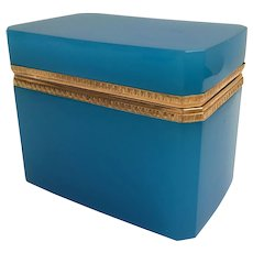 Fabulous Antique Turquoise Opaline Casket Hinged Box ~ Fancy Gilt Mounts~  Beautiful Color