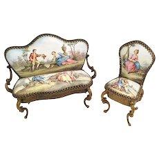 """Charming 19C Austrian Viennese Enamel Miniature  Parlor Set  """"Beautiful Pastoral Scenes"""" ~ Exquisite Pieces"""