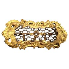 Divine Antique Gilt Brass Jeweled Dress Buckle