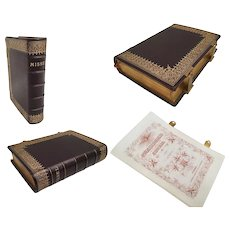 Antique Italian Leather Missel  ~ Gilt Brass Closing Straps and Beautiful Cover with Stunning Gilding