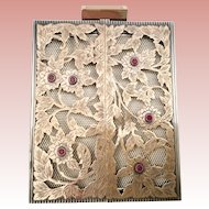 """Grandest  Boucheron Paris Double Doors """"Gold & Sterling Silver"""" Jeweled Compact with 6 Rubies"""