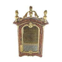 19C  Miniature Vitrine Table Cabinet  ~  Faux Painted  Tortoise and Marble ~ Load it with a TON of Treasures!